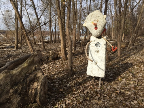 Giant Styro-Snow Shovel Man, Nov. 2015, Falls of the Ohio