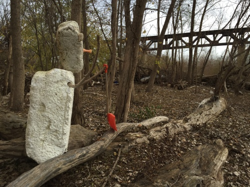 Styro Snow Shovel Man facing the railroad bridge, Falls of the Ohio, Nov. 2015
