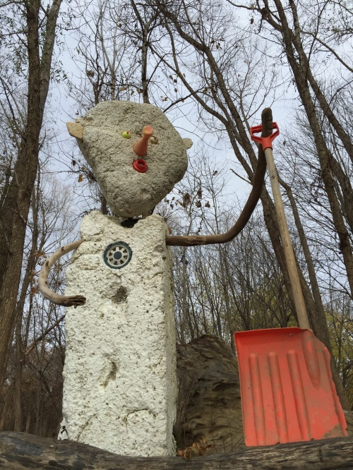 Large, absurd figure with half a snow shovel, Falls of the Ohio, Nov. 2015