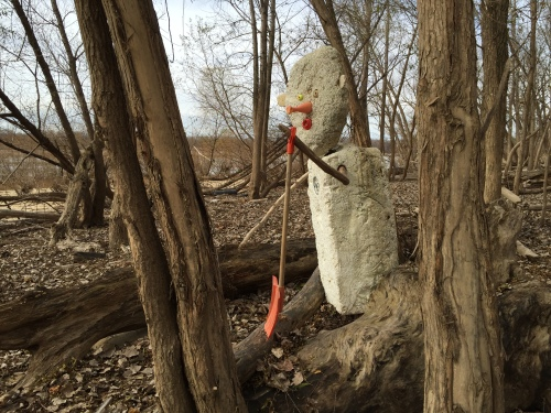 Styro Snow Shovel Man waiting for winter to arrive, Falls of the Ohio, Nov. 2015