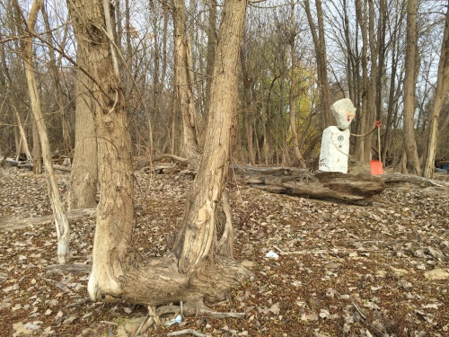 Last photo of the standing Styro Snow Shovel Man, Falls of the Ohio, Nov. 2015