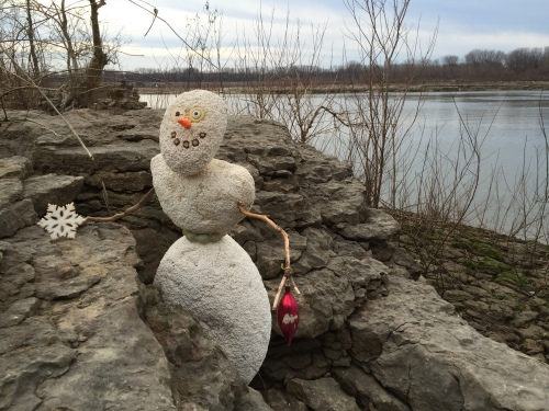 Styro-snowman gets a big idea, Falls of the Ohio, Dec. 2015