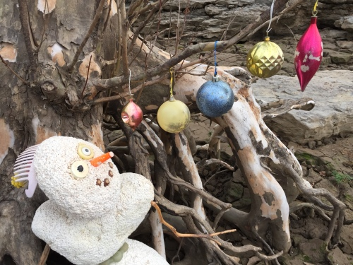 The Styro-snowman admiring his work, Falls of the Ohio, Dec. 2015