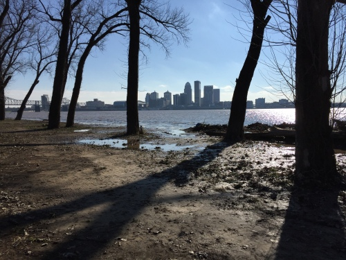 Louisville as seen from the riverbank in Southern Indiana, Jan. 1, 2015