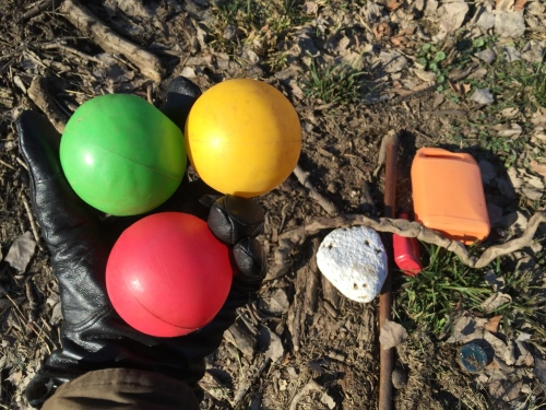 Today's finds include three plastic ball pit balls, Jan.1, 2016, Falls of the Ohio