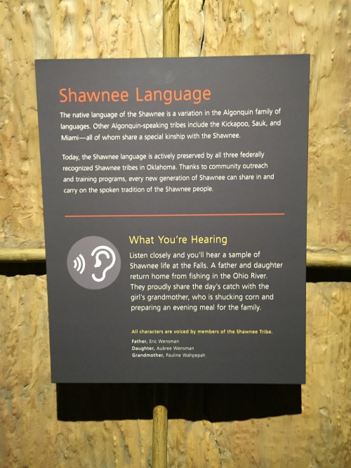 Signage about the Shawnee language, Falls of the Ohio Interpretive Center, Jan. 8, 2016
