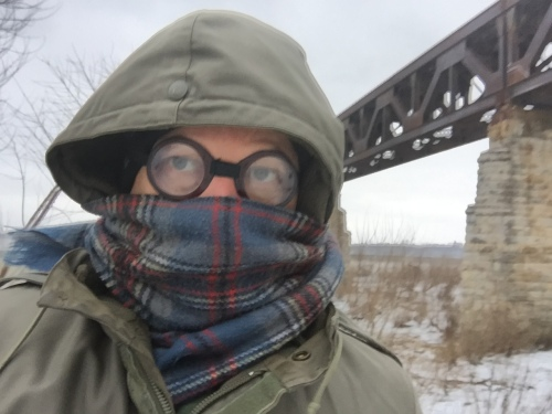 Artist at Exit 0 in winter gear, Jan. 12, 2016, Falls of the Ohio