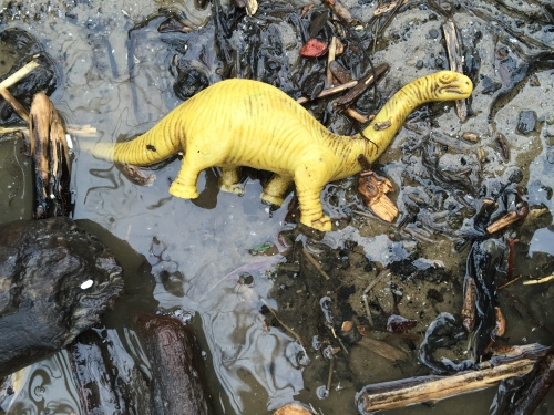 Plastic dinosaur, Falls of the Ohio, Jan. 12, 2016
