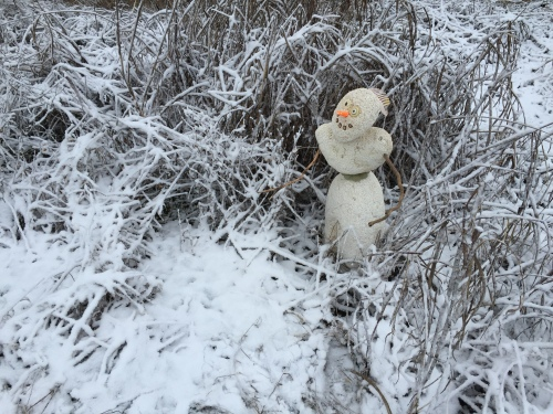 Styro-Snowman in his element, Falls of the Ohio, Jan. 12, 2016