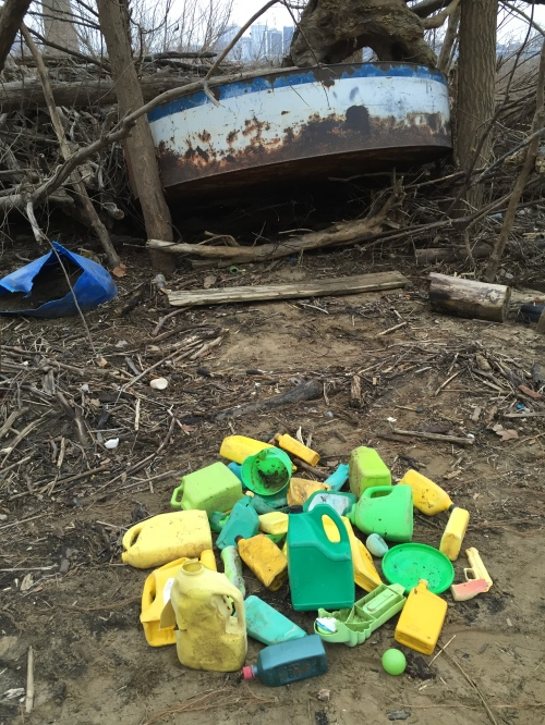 Massed yellow and green plastic, Falls of the Ohio, Jan. 2016