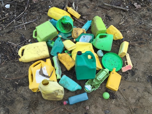 Found yellow and green plastic, Falls of the Ohio, Jan. 2016