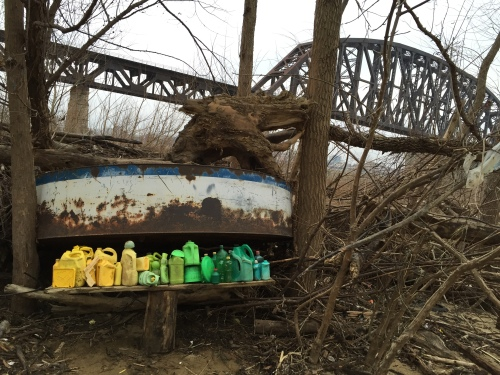 Arrangement in Yellow and Green Plastic by the old railroad bridge., Falls of the Ohio, Jan. 2016