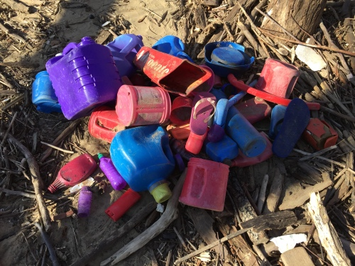 Random, found plastic in red, purple, and blue, Falls of the Ohio, Jan. 18, 2016