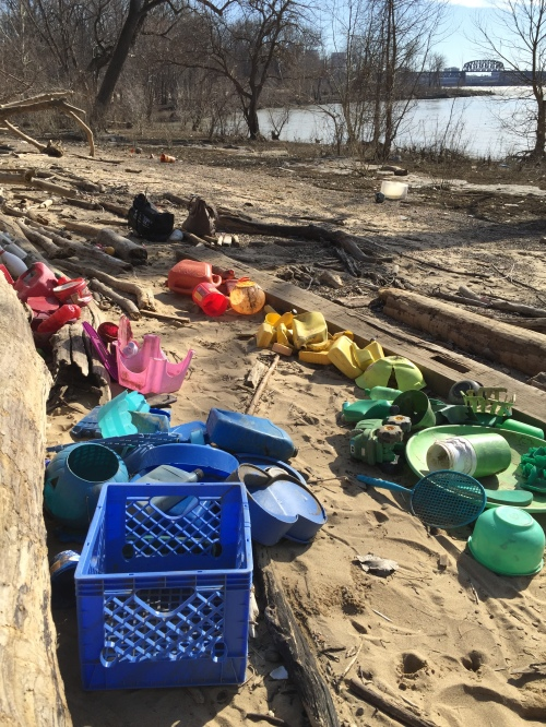 Found plastic on the riverbank, Falls of the Ohio, Jan. 30, 2016
