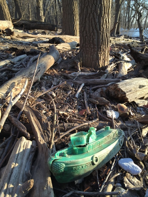 Found green plastic toy Tug Boat, Falls of the Ohio, Feb. 7, 2016