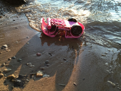 Found plastic doll car, Falls of the Ohio,  Feb. 7, 2016
