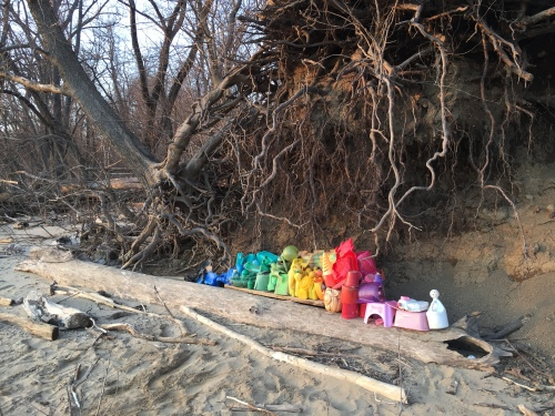 Arrangement on the Riverbank, found plastic, Falls of the Ohio, Feb. 20, 2016