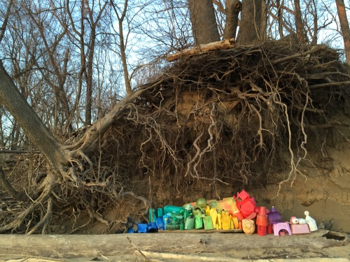 Plastic Arrangement under the riverbank, Falls of the Ohio, Feb. 20, 2016