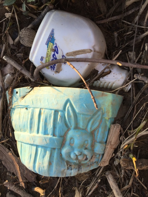 Found plastic objects in context at the Falls of the Ohio, March 26, 2016