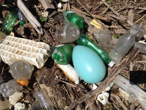 Giant, blue plastic egg, Falls of the Ohio, April 2015