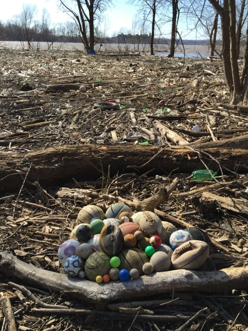 Improvised Ball Collection, Falls of the Ohio, Feb. 29, 2016