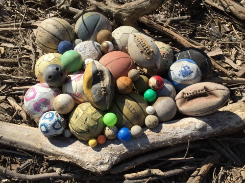 A pile of various found balls, Falls of the Ohio, Feb. 29, 2016