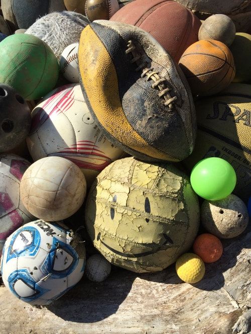 Detail of found balls, Falls of the Ohio, Feb. 29, 2016