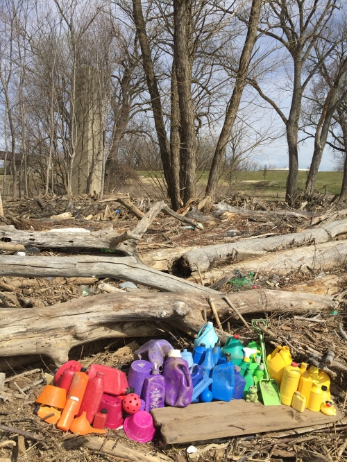 Plastic color spectrum arrangement, Falls of the Ohio, March 6, 2016