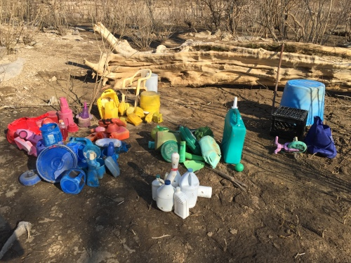 Dividing the found plastic into colors, Falls of the Ohio, late March 2016