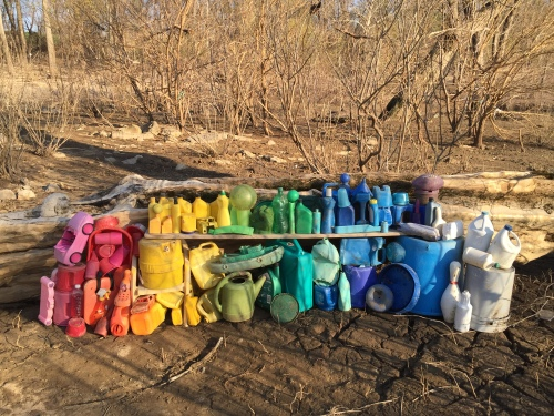 Petrochemical color arrangement in plastic, Falls of the Ohio, late March 2016