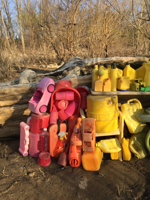 Red and yellow plastic, Falls of the Ohio, late March 2016