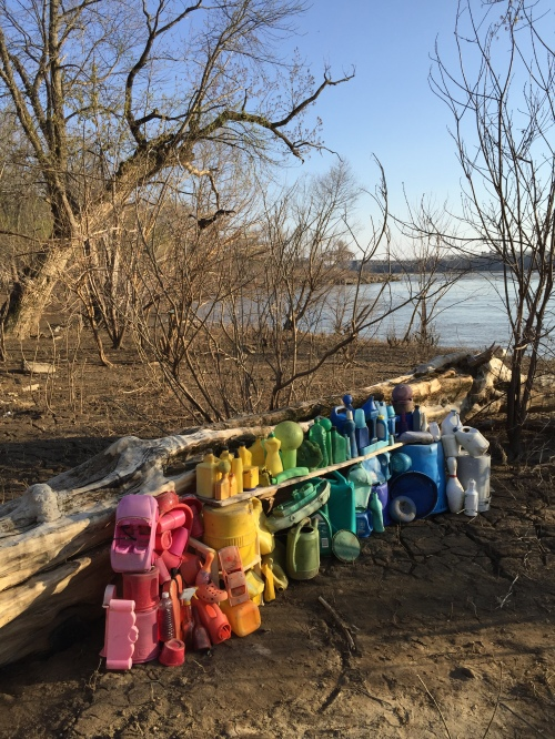 Plastic color arrangement, Falls of the Ohio, late March 2016