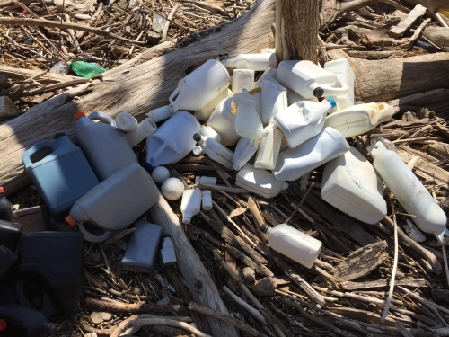 Mostly white plastic bottles, April 2016, Falls of the Ohio