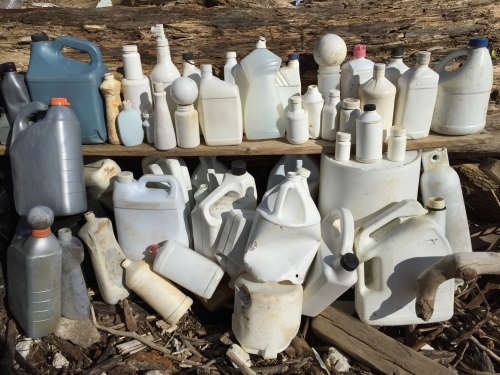 Mostly white plastic containers, but also a gray and two silver ones too.  Falls of the Ohio, April 2016