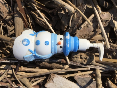 Broken, plastic novelty pump container in the shape of a snowman, Falls of the Ohio, May 2016