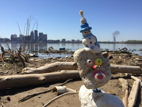 Scene with Absurd Figure and the Skyline of Louisville with a Fire in the Background, Falls of the Ohio, May 2016