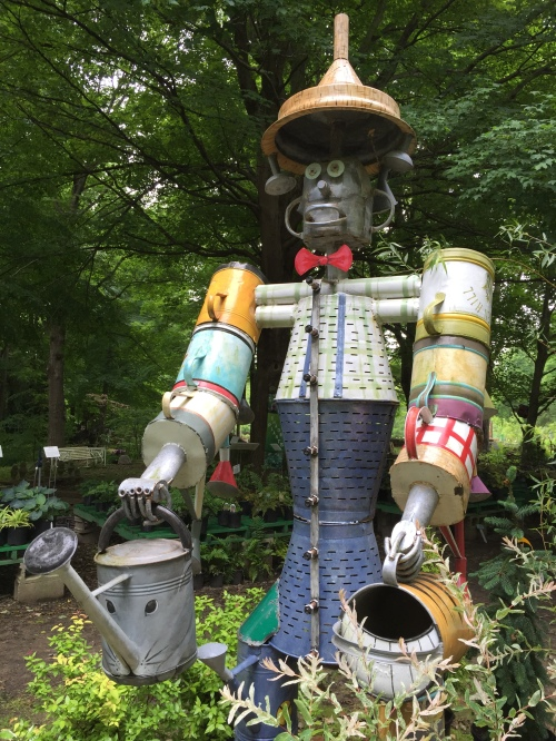 Man made from welded and painted watering cans by James Voyles, HIdden Hill, May 2016