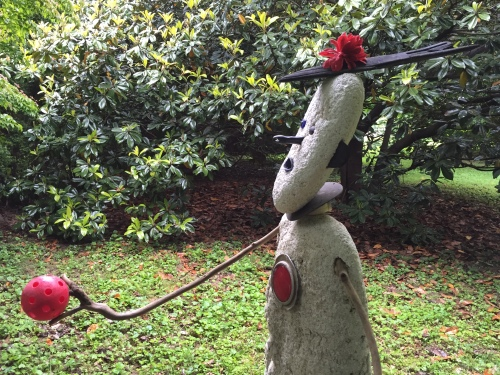 """Detail, side view of """"Figure Holding a Red Ball"""", Hidden Hill, May 2016"""