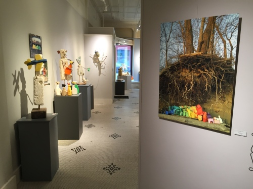 View inside my exhibit at Artists' Own Gallery, Lafayette, IN, Aug. 2016