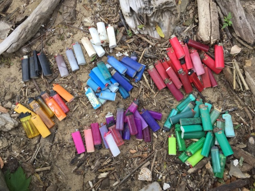 Found cigarette lighters by various manufacturers, Falls of the Ohio, June 2017