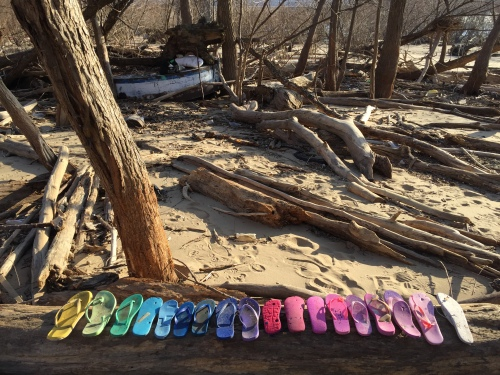 Chromatic arrangement in Flip-flops, Falls of the Ohio, Feb, 2017