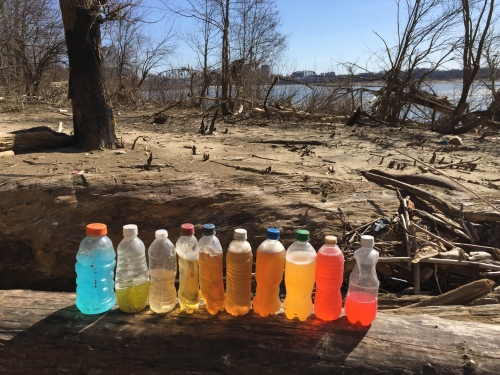 Found bottles and contents, western section of the Falls of the Ohio, April 2017