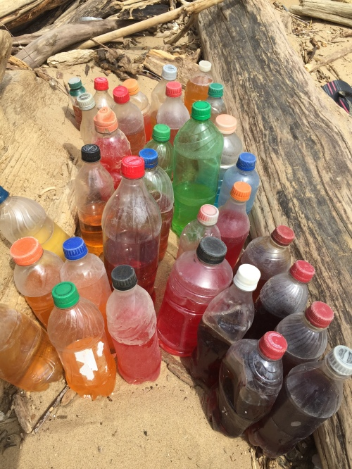 Found soft drink and sport drink bottles with partial contents, Falls of the Ohio, April 2017