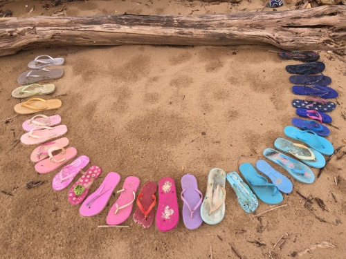 Flip-flop arrangement on the sand, Falls of the Ohio, March 2017