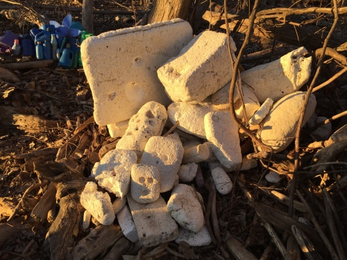Styro-skulls on the polystyrene pile, Falls of the Ohio, Dec. 2017