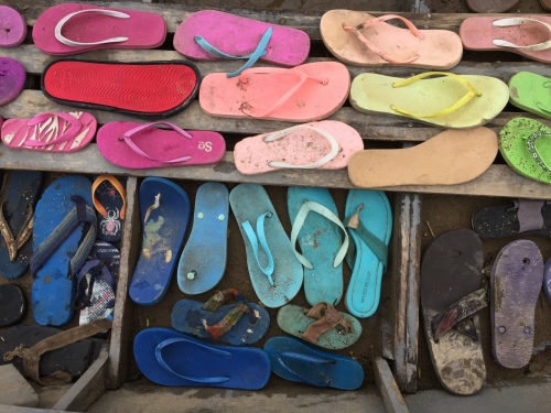 Detail, Found Flip-flops in Found Wooden John-boat, Falls of the Ohio, April 2018