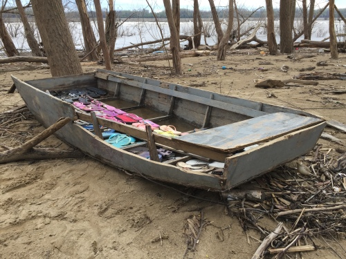 Found wooden john-boat with flip-flop arrangement, Falls of the Ohio, April 2018